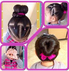 Heart bun for little girls