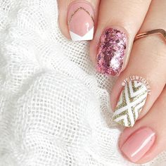 Pink, Gold, and White Negative Space Nails With Glitter
