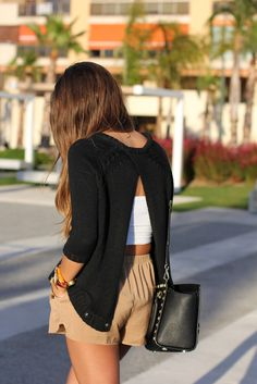 Open Back Sweater & White Bralet & Beige Short from live-breathe-fashion.tumblr.com