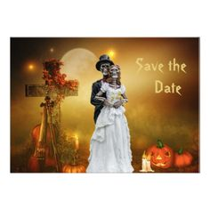Halloween Save the Date Card - married gifts wedding anniversary marriage party diy cyo