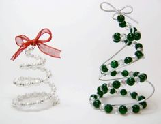 Spiral Beaded Christmas Trees   FaveCrafts.com