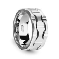 POTOMAC Tungsten Carbide Wedding Band w/ Crescent Pattern and Brushed Finish   10mm