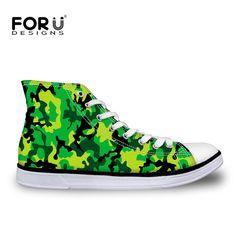 FORUDESIGNS Stylish Women High Top Canvas Shoes Casual Personality Camouflage Prints Woman Lace-up Vulcanized Ladies Flat Shoes