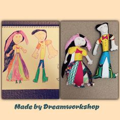 Mum & Daddy drawing by Eden These are approximately 35cm tall.  #handmade #craft for #kids #softy #toy #doll #wedding #picture made by #Dreamworkshop