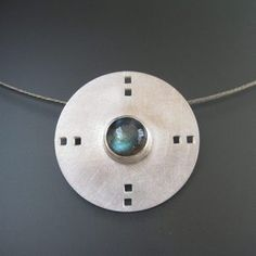 Image of Round Sterling Silver Pendant with Squares and Labradorite..TK Metal Arts