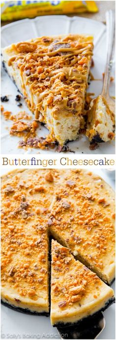 Everyone will go crazy for this Peanut Butter Butterfinger Cheesecake recipe! This is one incredible indulgent dessert. sallysbakingaddiction.com
