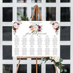 Burgundy, Wedding Seating Chart Template, Marsala Wedding Invitation Printable, Watercolor Flowers, Boho Wedding, Personalized Stationery by OnionSisterCreative on Etsy
