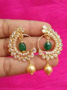 Constructive Indian Bollywood Ethnic Green Matte Gold Pearl Jhumka Earring Fashion Jewelry Online Shop Costume Jewellery Jewellery & Watches