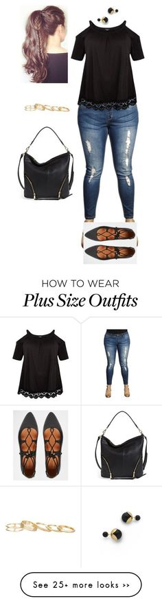 """""""Cold Shoulder Top & Jeggings plus size"""" by jacobjarettsmom on Polyvore featuring Poverty Flats, Wet Seal, Warehouse, Kendra Scott, Jarin K and plussize"""