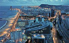 Télécharger fonds d'écran Barcelone, paysages urbains, des bâtiments modernes, soirée, Espagne, Europe