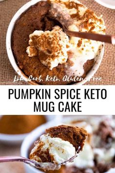 Dig into this moist and fluffy Pumpkin Spice Keto Mug Cake and delight in the sweet spices of cinnamon and cloves. Topped with a dollop of cream, this healthy keto mug cake is the perfect 5 minute…More 12 Easy Keto Friendly Pumpkin Recipes Keto Friendly Desserts, Low Carb Desserts, Low Carb Recipes, Healthy Recipes, Low Carb Diets, Mug Recipes, Cake Recipes, Dessert Recipes, Dessert Ideas