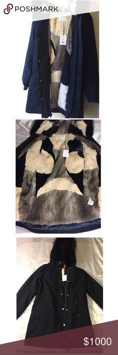 Vince Fur-Lined Hooded Parka Size:S Vince Fur-Lined Hooded Parka Size:S color navy blue Shell Real Fur: hood strip- 100% Silver Fox Lining- 100% Rabbit Fur is removable both lining and hood please see all pictures, any questions please ask. Vince Jackets & Coats