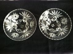 Pair of Prescut Glass Bowl 3-Toed Footed Star Anchor Hocking #768
