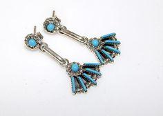 Vintage Native American Zuni Sterling Silver Turquoise Petit Point Pierced Dangle Earrings