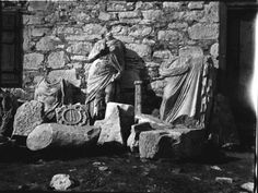Statues outside museum and carved fragments. Miletus, Aydın, Turkey (April 1907) Photo: Gertrude Bell