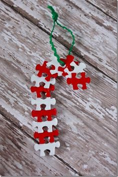 A fun way to use up the pieces of a puzzle that you lost a piece or two from!