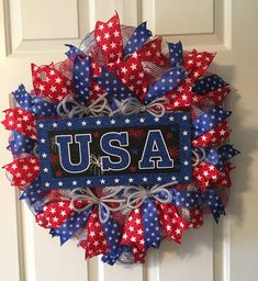 of July USA Wreath, Military Wreath, Labor Day Wreath, Screen Door Wreath, Thin Wreath by TiraMercantile on Etsy Valentine Day Wreaths, Easter Wreaths, Holiday Wreaths, Holiday Decor, Patriotic Wreath, Patriotic Decorations, 4th Of July Wreath, Deco Mesh Wreaths, Door Wreaths