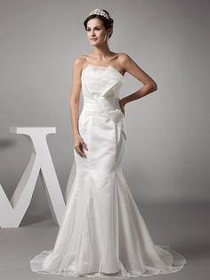 Mahelia - robe de mariée sirène sans bretelles en satin avec ruché