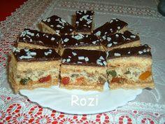 Rozi Erdélyi konyhája: Erzsi néni diós-rahátos szeletje Tiramisu, Cukor, Ethnic Recipes, Decorations, Dios, Dekoration, Tiramisu Cake, Ornaments, Decor
