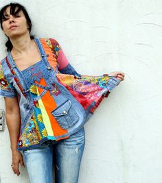 Crazy recycled denim jeans dress tunic hippie boho by jamfashion, $84.00