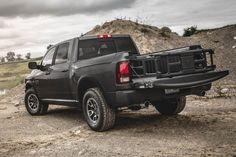 2017 Dodge Ram 1500 Rebel rear view, black color, tailpipe