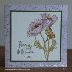 Corine's Gallery: easy card with Chocolate Baroque stamps Baroque Design, Hero Arts, Cardmaking, Poppies, Birthday Cards, Vintage World Maps, Craft Projects, Art Gallery, Paper Crafts
