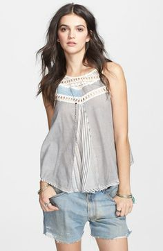 I like it better in pink chambray. Rope trim! Halter back. Free People 'Work Wearin' It' tank $98   #Nordstrom