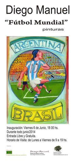 """Exposición individual """"Fútbol Mundial"""", Junio de 2014, Complejo Bibliotecario Municipal López Merino, La Plata"""