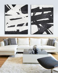 Set Of 2 Huge Contemporary Art Acrylic Painting by CelineZiangArt