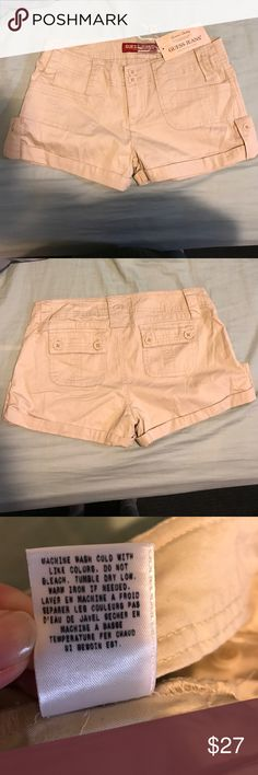 NWT Guess jeans chino shorts NWT Guess jeans chino cuffed shorts/ 2 buttoned back pockets/2 front pockets/ buttoned tied on each side/ comes with 2 spare buttons Guess Shorts