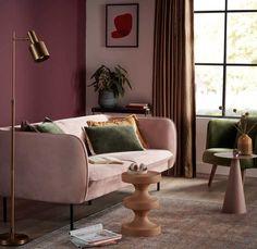 Apartment Interior Design, Interior Design Living Room, Pastel Living Room, Colorful Apartment, Living Room Decor Inspiration, Pink Sofa, Art Deco, Sit Back And Relax, House