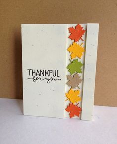 handmade card from I'm in Haven ... thankful ... column of die cut maple leaves in bright Fall colors ... like the design ... great card!