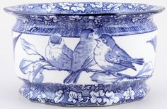 lunapic.com..........Cache Pot or Jardiniere,blue birds, c1920s.