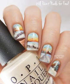 Snowy Country Landscape nails + nail art tutorial