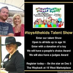 We invite all kids up to age of 16 to enter our #toys4thekids Talent Show at our #toys4thekids Finale Event fir Carilion Clinic Children's Hospital on Dec 5th at The Wayback in 16 West Marketplace. All it takes to enter is to register, and bring a new toy for the toy drive~~See more info here and register you kid today~