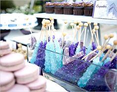 candy bar, dessert, macaron, cupcake, bar, blue, candy, details, drink, food, lavender, little, purple, reception, sweet, table, teal, treats, wedding
