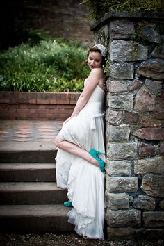 Pretty dress and awesome teal Louboutins.