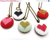Black Friday Sale Heart Necklace in Mint and Gold Cross Stitch on Antique Brass Convertible Jewelry Chain
