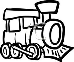 Cartoon Drawing of a Black and White Train Clipart Picture