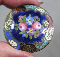 19th Century Enamel & Brass Floral Button