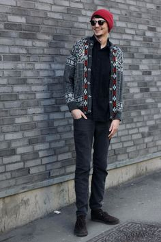 Men's fashion, ootd, street style, knit jacket, beanie