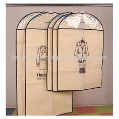 Hot sale non-woven garment bags with zipper customized suit cover bag with clear view window