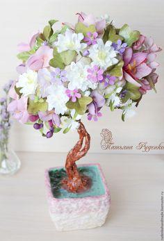 Купить Топиарий Японская весна - розовый, топиарий дерево счастья, топиарий, интерьерное дерево, бансай