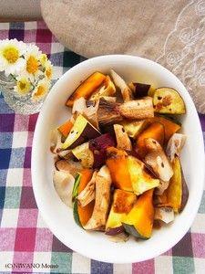 秋野菜のホットサラダ バルサミコソース Japanese Food, Pot Roast, Sweet Potato, Food And Drink, Potatoes, Chicken, Meat, Vegetables, Cooking