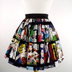 """Lindy"" Comic Strip Black Skirt, 60's romance comic"