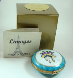 Limoges Box - Round Compact Style with Pretty Lady in a Hat Full of Flowers