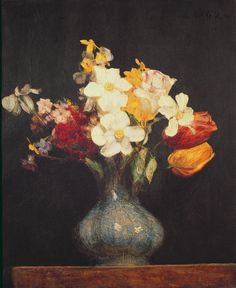 Narcissi and Tulips, 1862 (oil on canvas) by Ignace Henri Jean Fantin-Latour