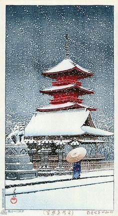 hanga gallery . . . torii gallery: Snow at Ueno Toshogu Shrine by Kawase Hasui    1929