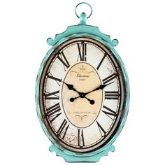 Large Antique Turquoise Metal Oval Wall Clock