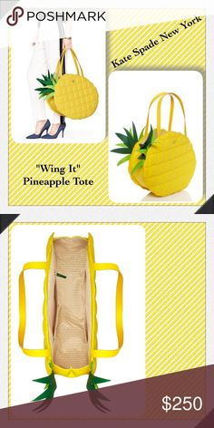 """Kate Spade New York """"Wing It"""" Pineapple Tote Bag🍍 Kate Spade New York  """"Wing It"""" Goldenrod Yellow Large Quilted Nylon Tote Bag  Details: • Yellow quilted woven nylon  • Gold-tone hardware • Tonal Saffiano leather trim • Dual flat shoulder straps,  • Green Saffiano leather accents at top • Beige jacquard lining • Three interior pockets; one with zip closure and open top Measurements (approx.): Height - 16"""" Width - 19"""" Depth - 5.5""""  Strap Drop - 9"""" Very good pre loved condition with minimal…"""
